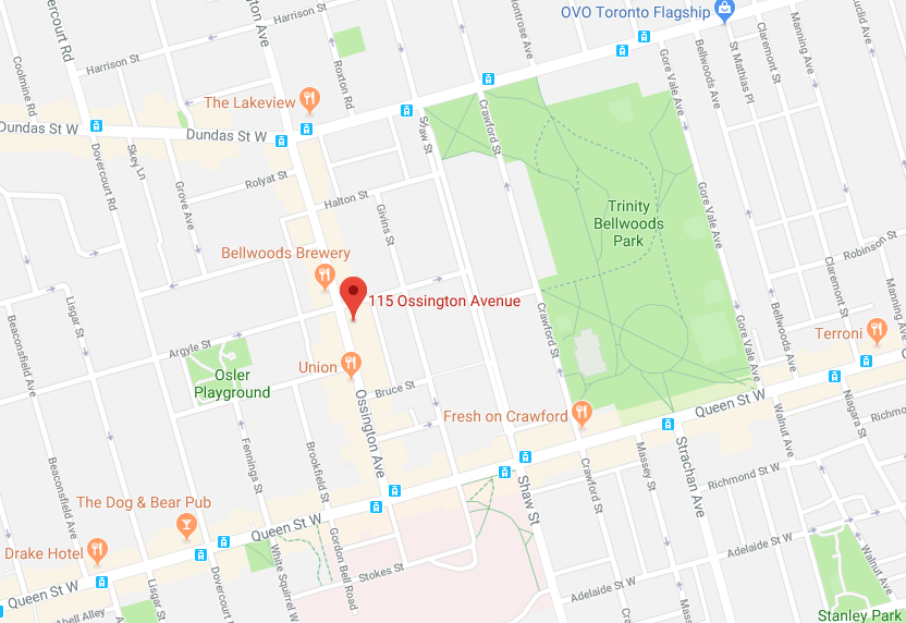 Toronto Location. Click for Interactive Google Map