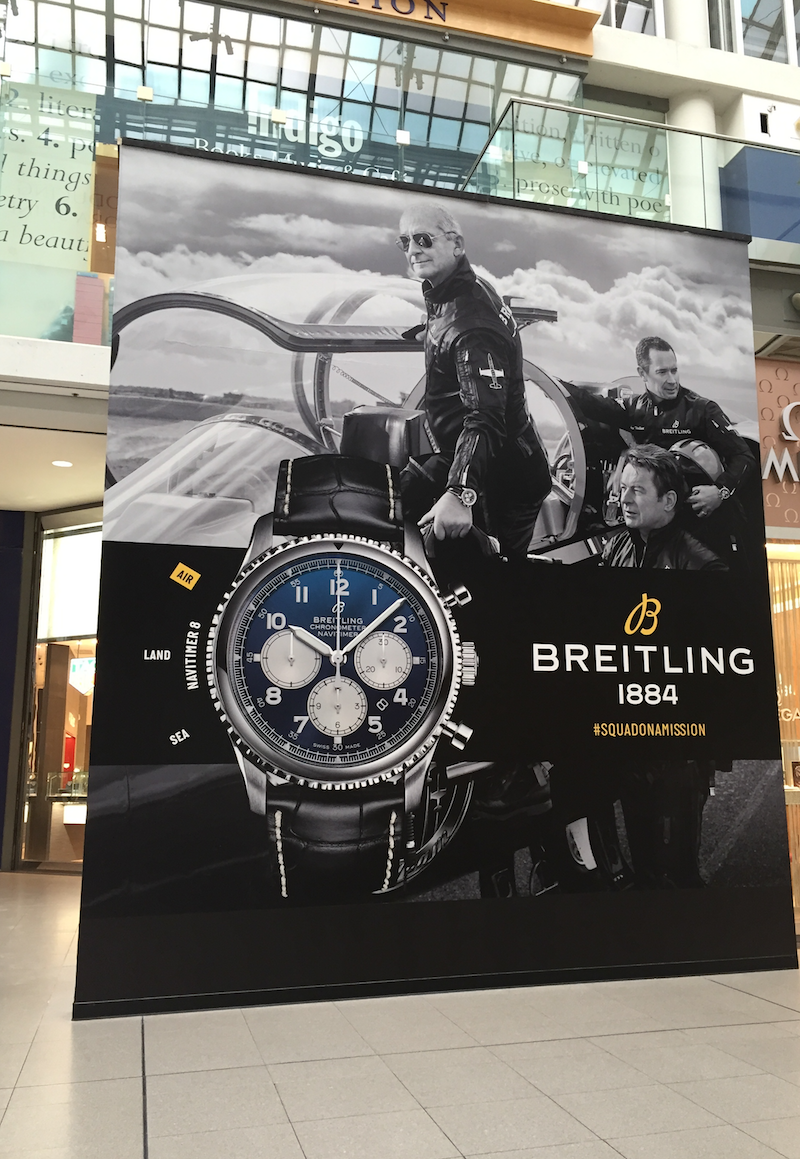 Breitling branded construction signage at CF Toronto Eaton Centre on October 12.