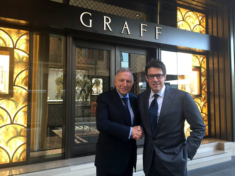 Chairman Laurence Graff and CEO François Graff at official opening of Hong Kong Central flagship. Photo: Graff Facebook.