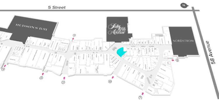 LOUIS VUITTON MARKed IN BLUE. CLICK IMAGE FOR INTERACTIVE CF CHINOOK CENTRE FLOOR PLAN
