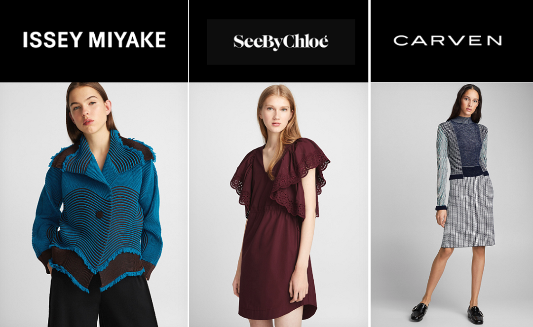 Examples of garments from Simons.ca for brands carried.