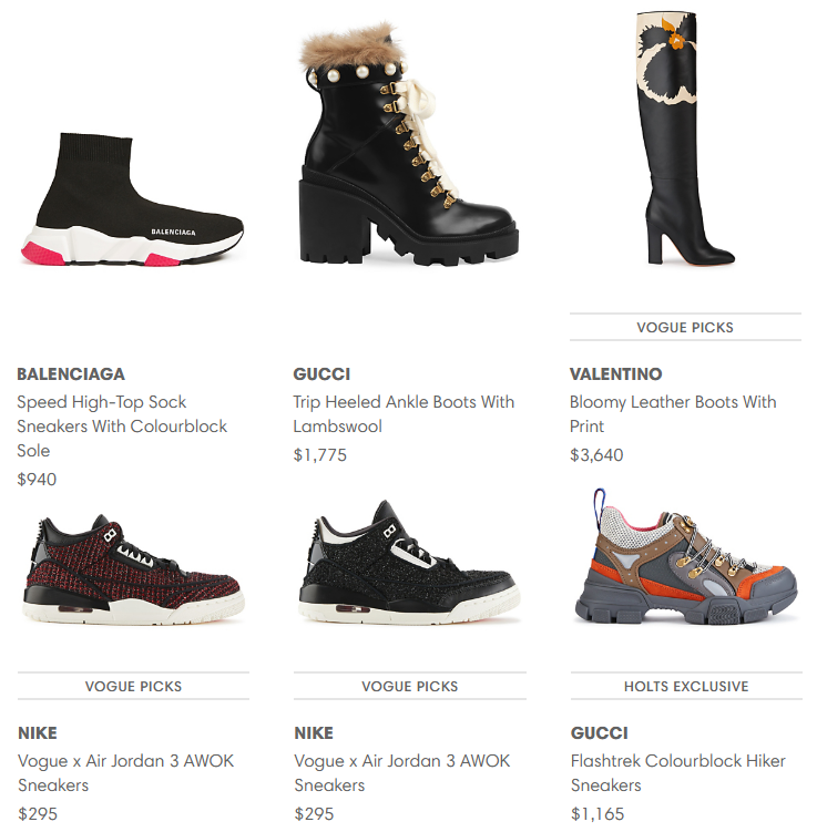 Selection of footwear from HoltRenfrew.com