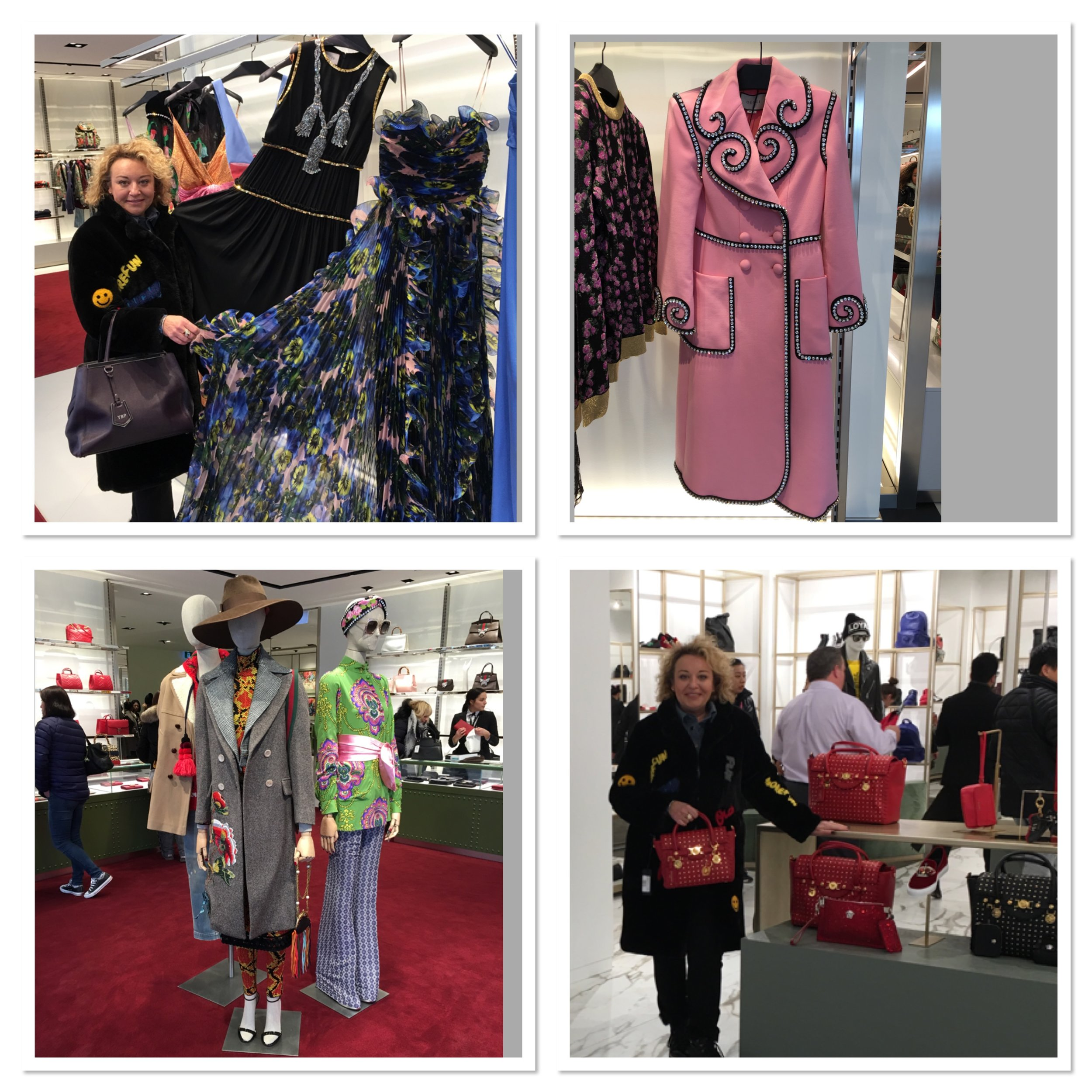 Yana Brikker  in the new Gucci outlet, as well as Versace in the photo lower-right. Photo: Yana Brikker.