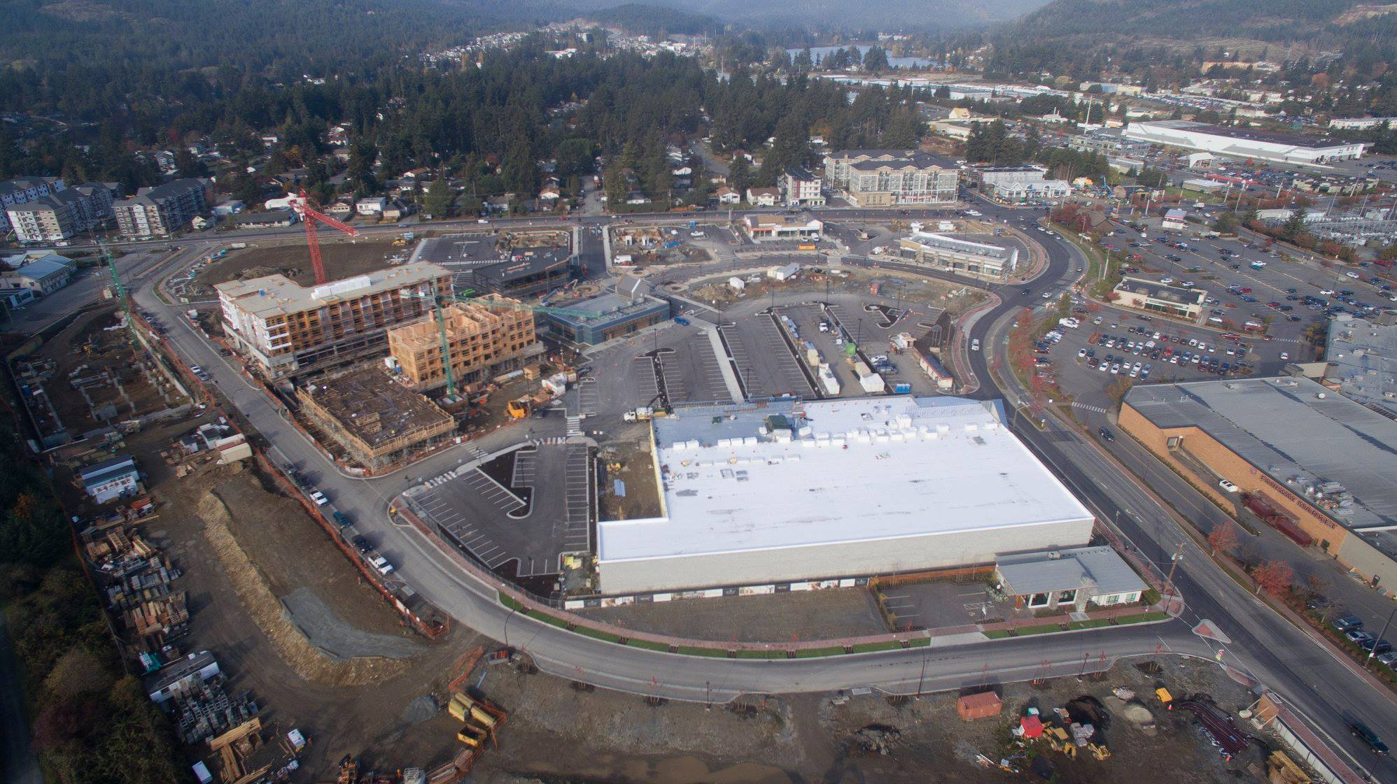 Aerial View (Thrifty Foods is the white roof). Photo: Belmont Residences Facebook