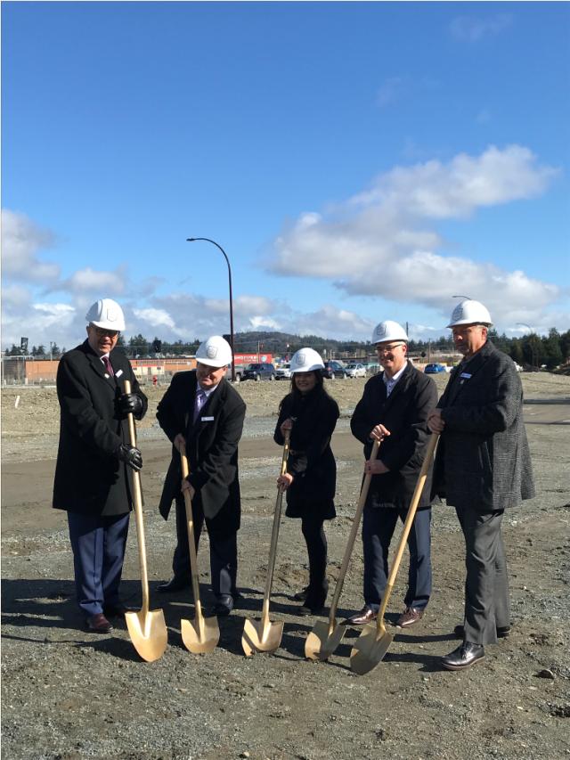 Ledcor ground breaking ceremony on March 1, 2018 for Belmont Residences. Photo: Belmont Market Facebook.