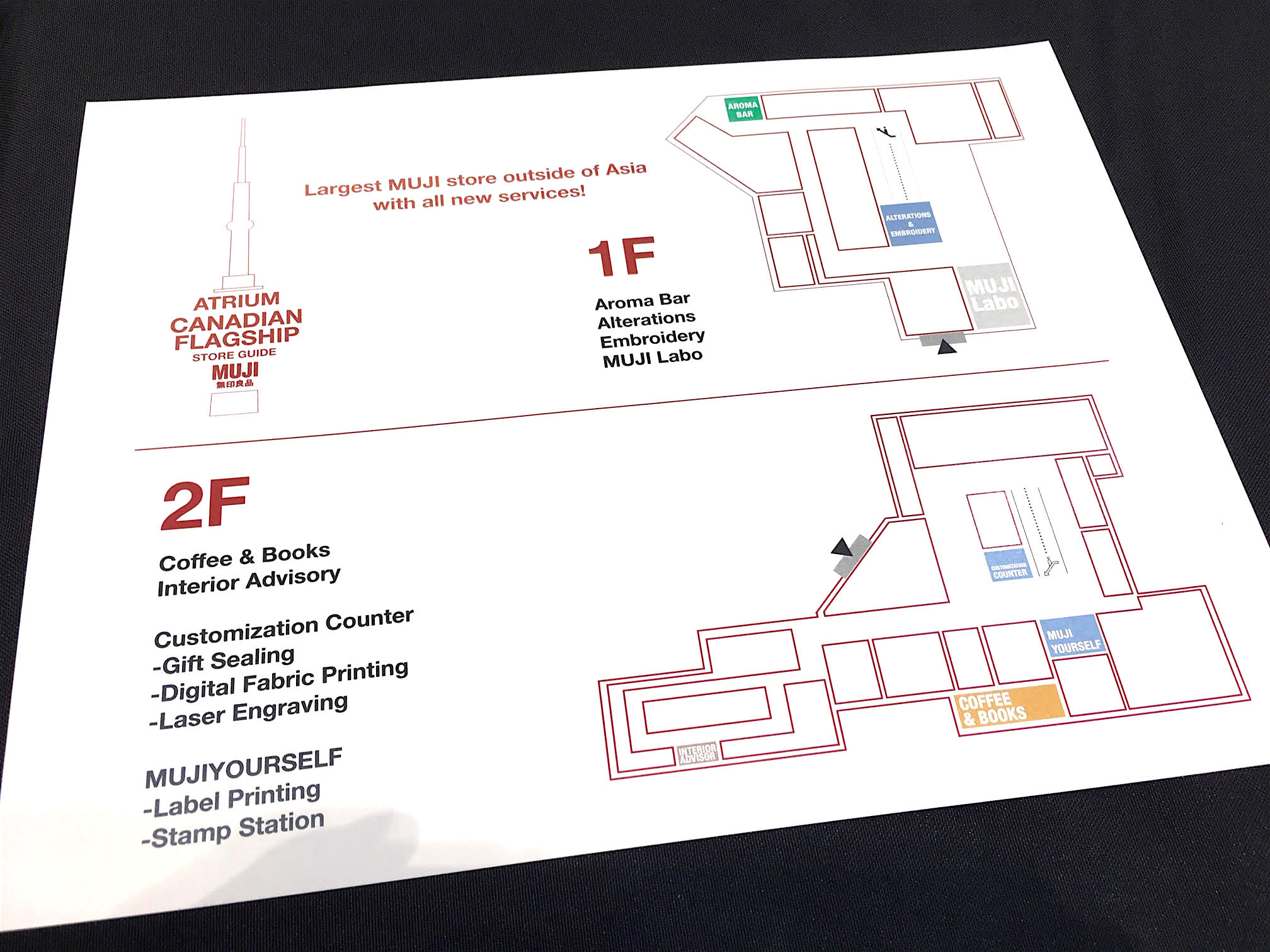 PHotograph of a store floor plan handed out to guests at the Media grand opening on Thursday, November 22. Photo: Craig Patterson