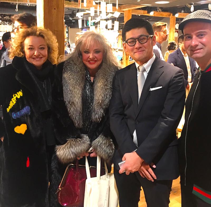 Left-to-right: Stylist    Yana Brikker   , Retail Recruiter    Suzanne Sears   , Muji North America President    Toru Akita   , and Retail Insider's Craig Patterson on the evening of Thursday, November 22.