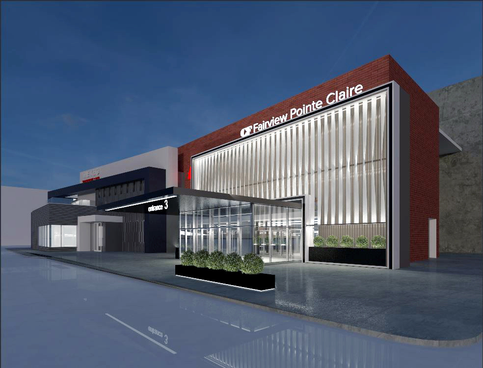 Above: Rendering of the updated CF Fairview Pointe Clair in suburban Montreal. Rendereing: Cadillac Fairview