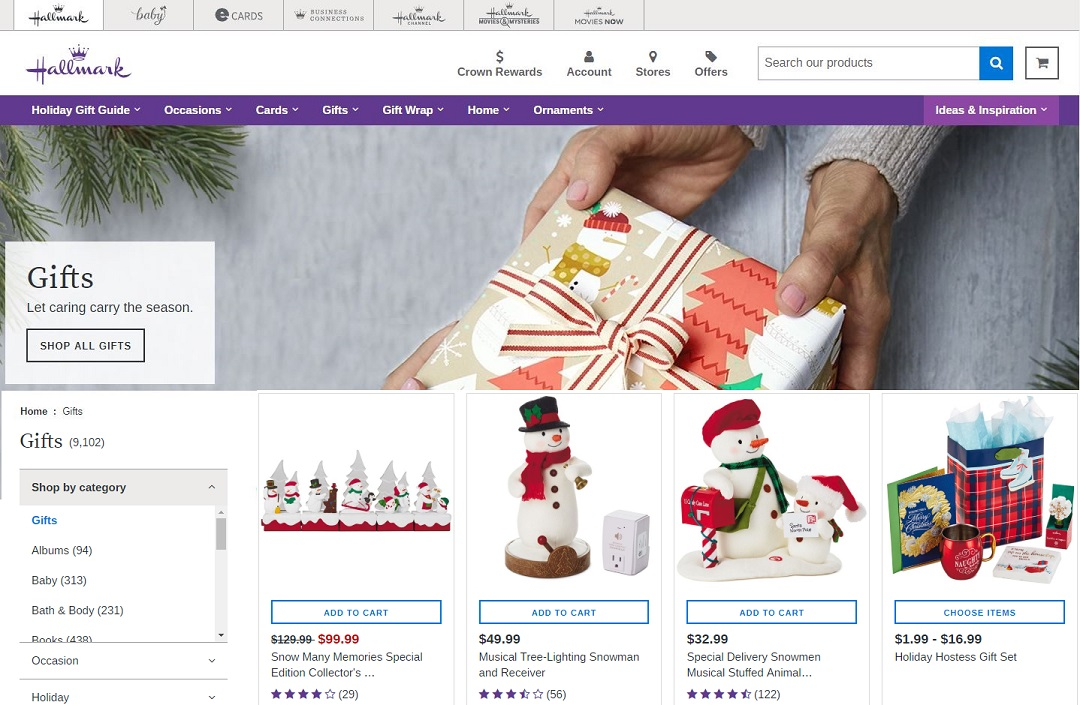 Photo:    Hallmark eCommerce Website