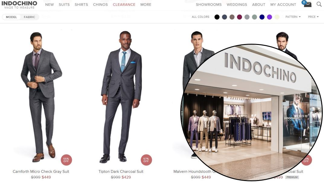 INDOCHINO Website (Click) and Metrotown location (Brick) in Burnaby, BC.