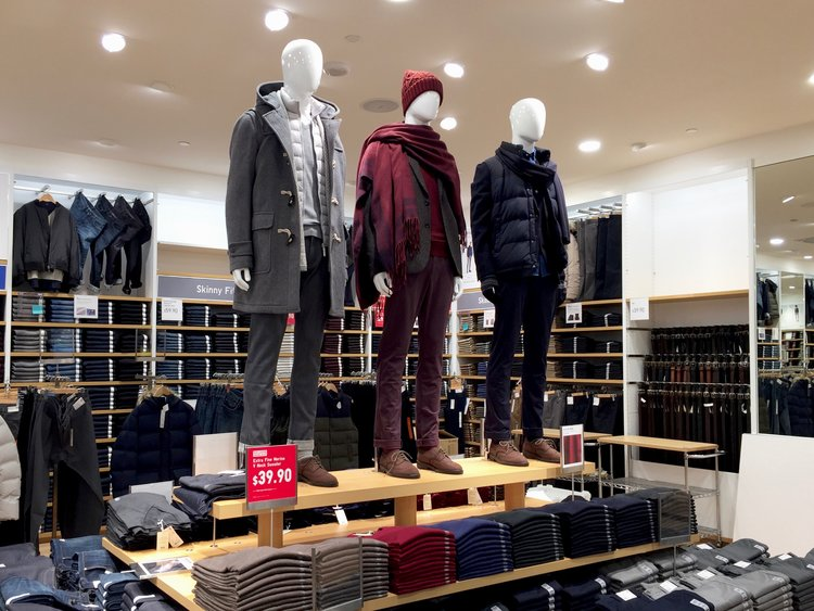 MEN'S JEANS AND PANTS ARE LOCATED ON THE SECOND FLOOR of UNIQLO Toronto. PHOTO: DEVON JOHNSON