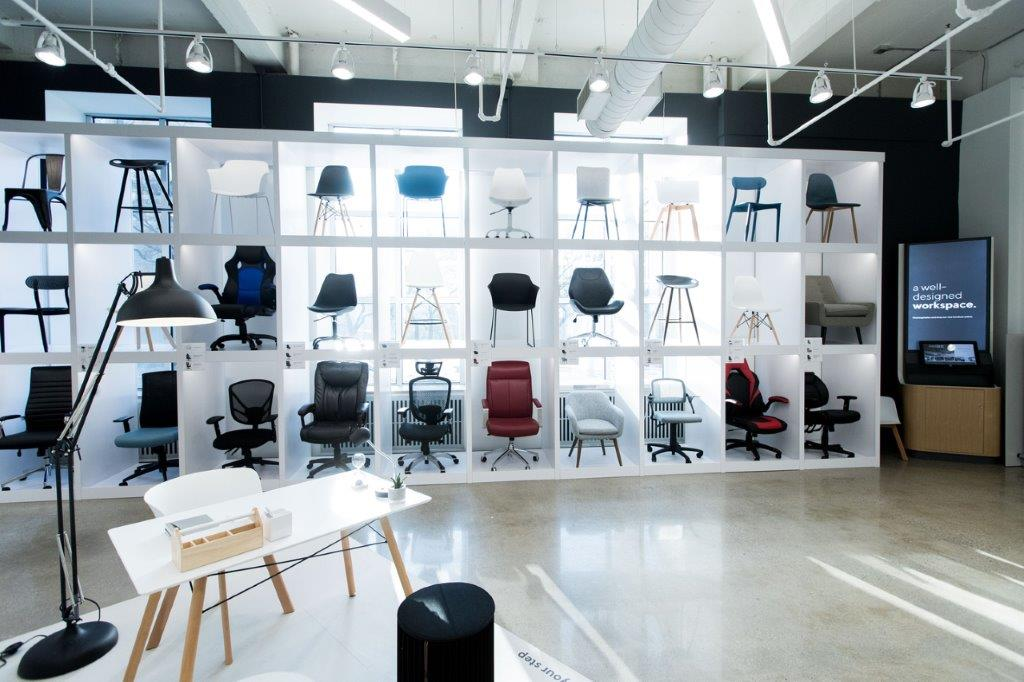 Chair/officf furniture display area at the front of the store. Photo: Staples Canada/ Sarjoun Faour