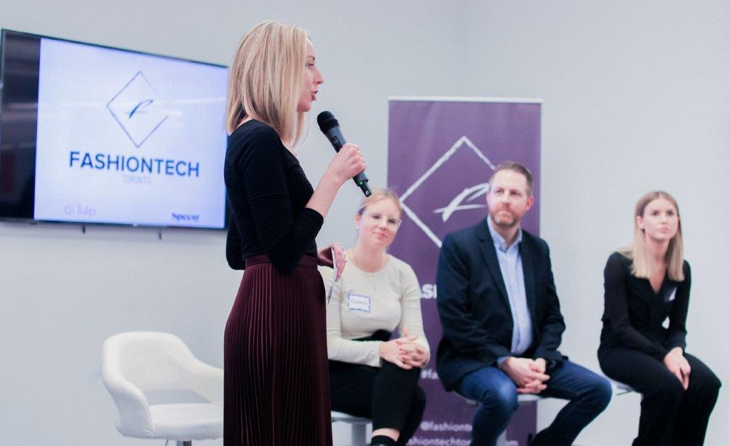 Ashley Barby speaks at a fashiontech event in toronto. Photo supplied.