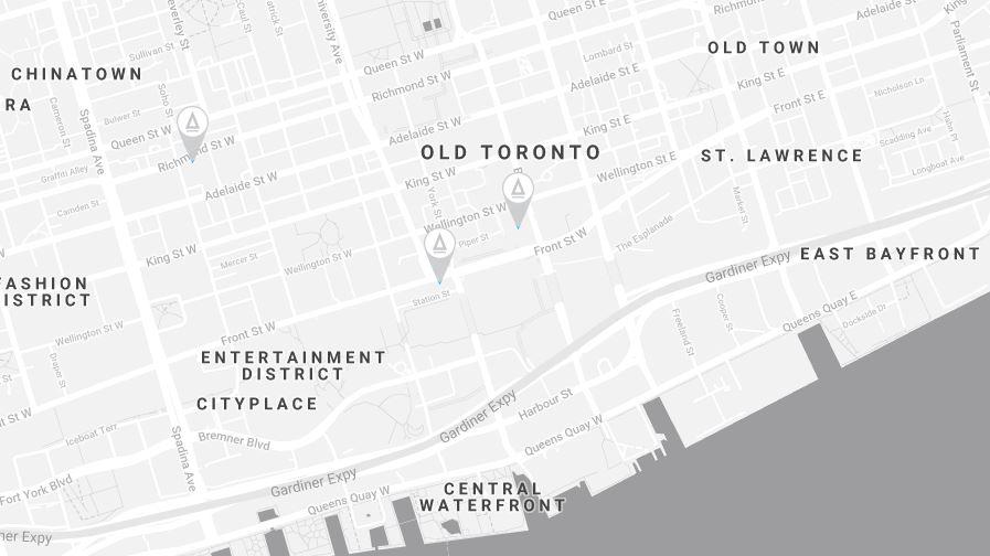 Toronto Locations. Photo/Map:    LAUFT/Google Maps