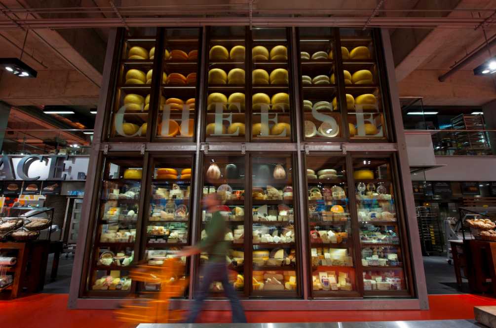 The 'Wall of Cheese' at Loblaws Maple Leaf Gardens in Toronto. Photo: Loblaw