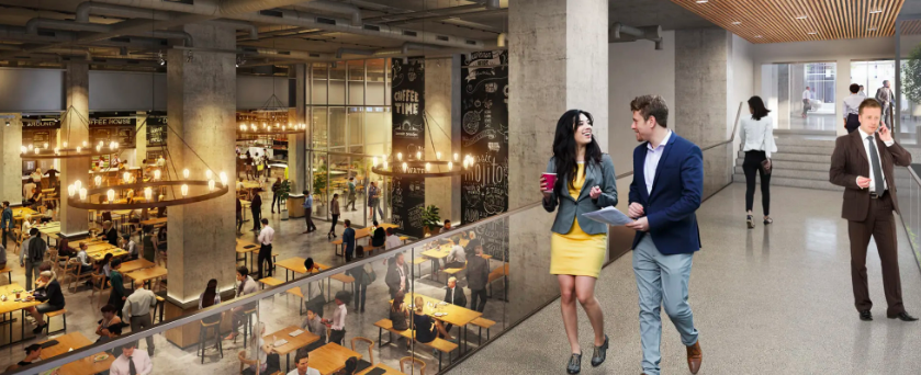 Future Food Hall. Rendering via QuadREal