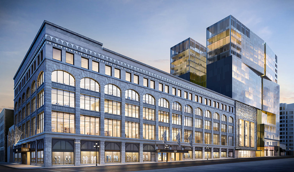 The 'holt Renfrew Ogilvy' store Montreal, which is expected to be completed next year, will include a ground floor luxury hall that will be primarily leased concessions for luxury brands. Rendering: Gensler