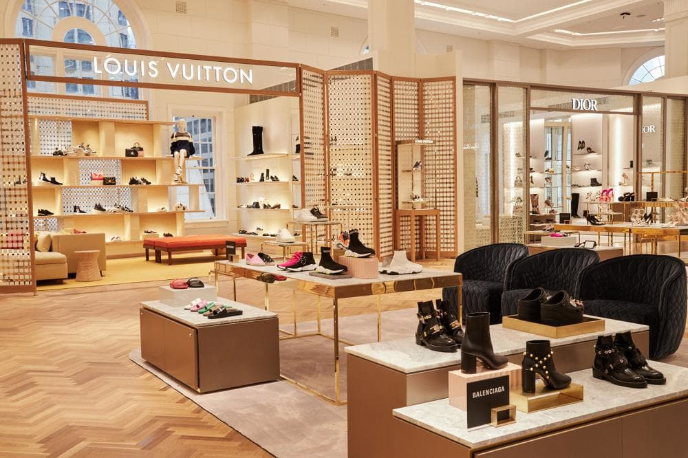 The spectacular women's shoe floor at David Jones in Sydney, featuring 8 concession boutiques for Louis Vuitton, Chanel, Prada, Gucci, Tod's, Valentino, Dior and Christian Louboutin.