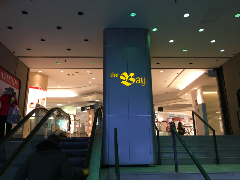 Despite signage having been updated in most Hudson's Bay stores in Canada, the location at Yonge & Bloor in Toronto has not, raising questions about the future of the store.