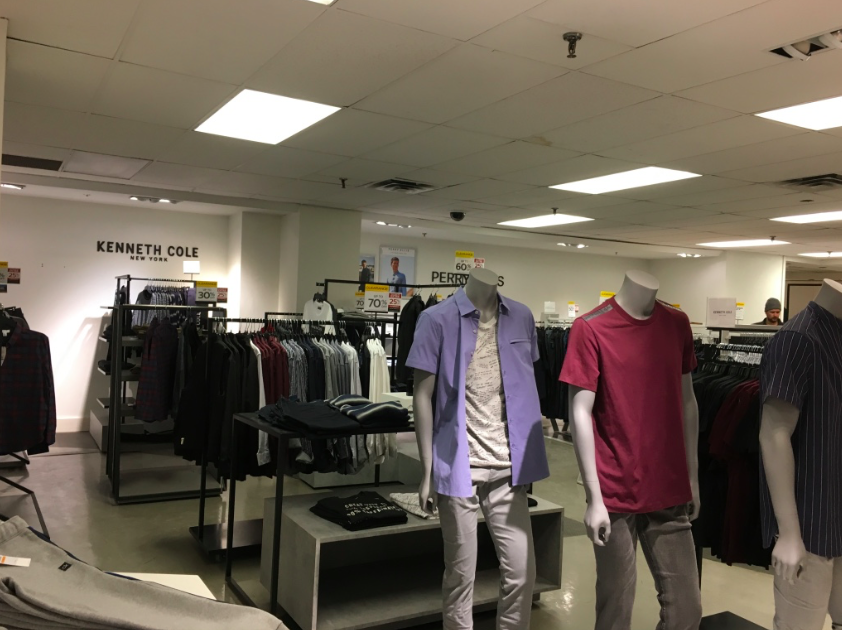 Ground floor men's store: Pricier designer offerings have been removed from the store and replaced with brands typical to most HBC stores.