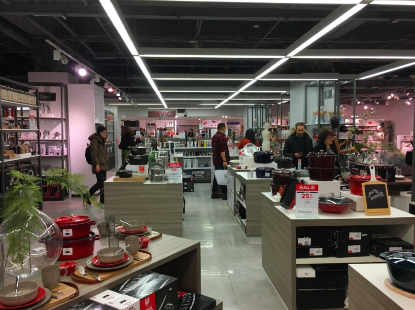 Homewares on the concourse level.