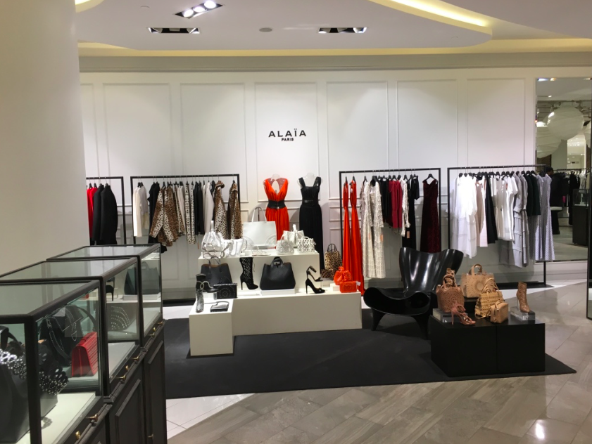 Luxury brand Alaia has its own area in The Room on 3. Interestingly, Saks Fifth Avenue on the same floor to the east also features an Alaia boutique.