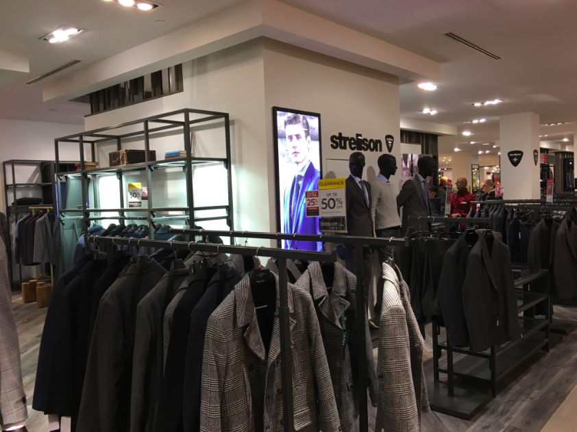 Swiss menswear brand Strellson occupies more than 2,000 square feet on the 5th floor of Hudson's Bay Queen Street.