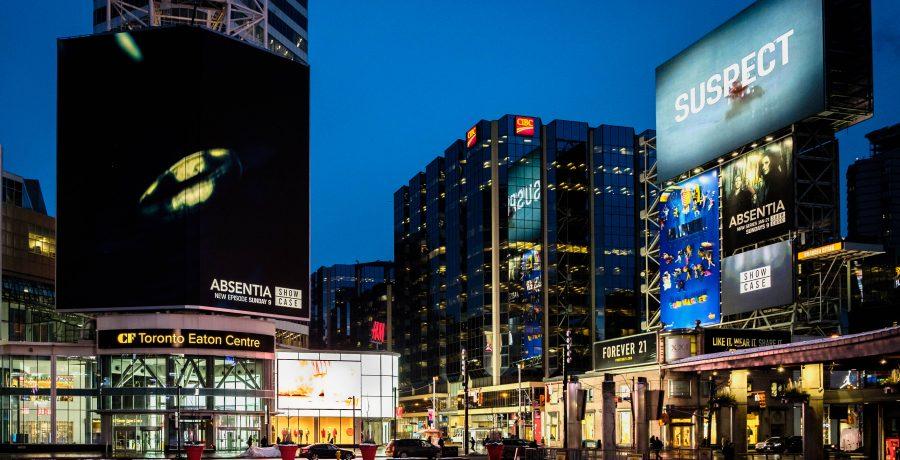CF Toronto Eaton Centre across Yonge-Dundas Square. Photo:    Branded Cities