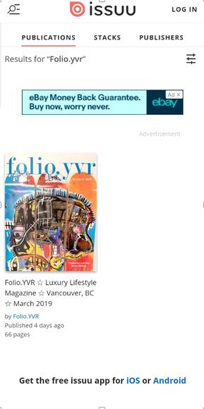 Readers can access FOLIO.YVR through the EcoLuxLuv.com website or the issuu.com platform