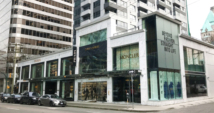 Vancouver's 'Luxury Zone' houses some of the most prestigious retailers in the world. (Note: Retail Insider is using photos only as examples and is not implying that these retailers were targets of theft) PHOTO VIA LEE & ASSOCIATES