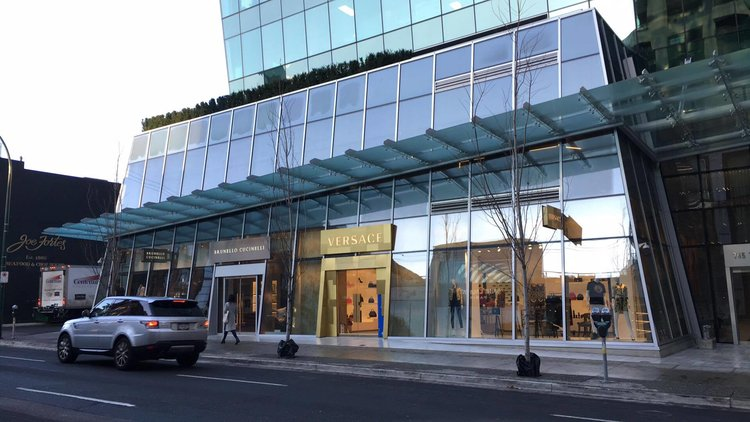Luxury brands on Thurlow Street in Vancouver's 'Luxury Zone. (Note: Retail Insider is using photos only as examples and is not implying that these retailers were targets of theft) PHOTO: lee rivett