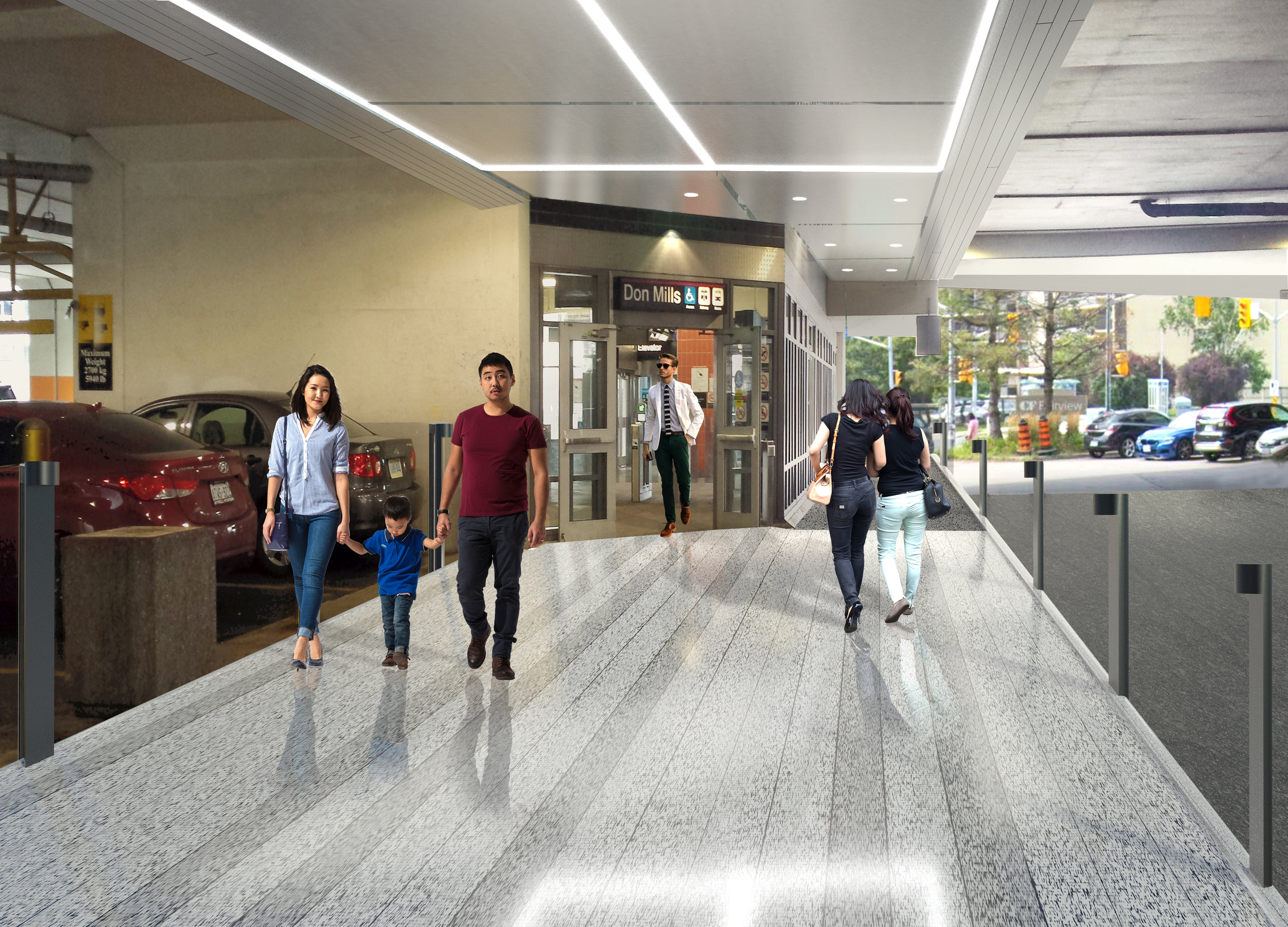 PROPOSED ENTRANCE FROM DON MILLS STATION RENDERING: CADILLAC FAIRVIEW