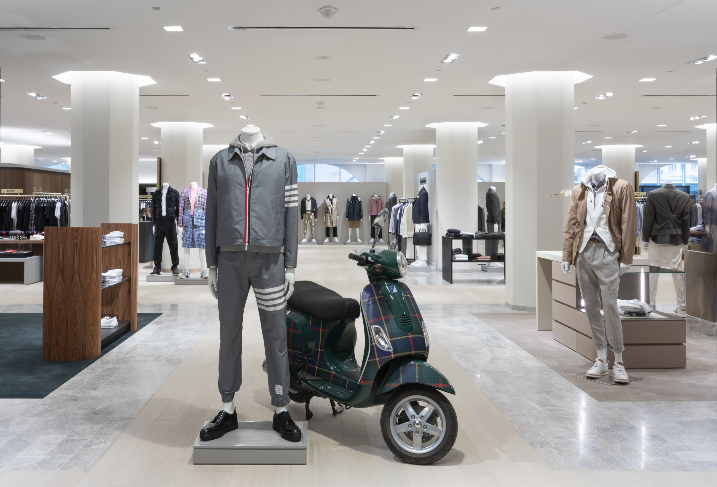 Ogilvy tartan Vespa on the new 4th floor men's store. photo: holt renfrew ogilvy