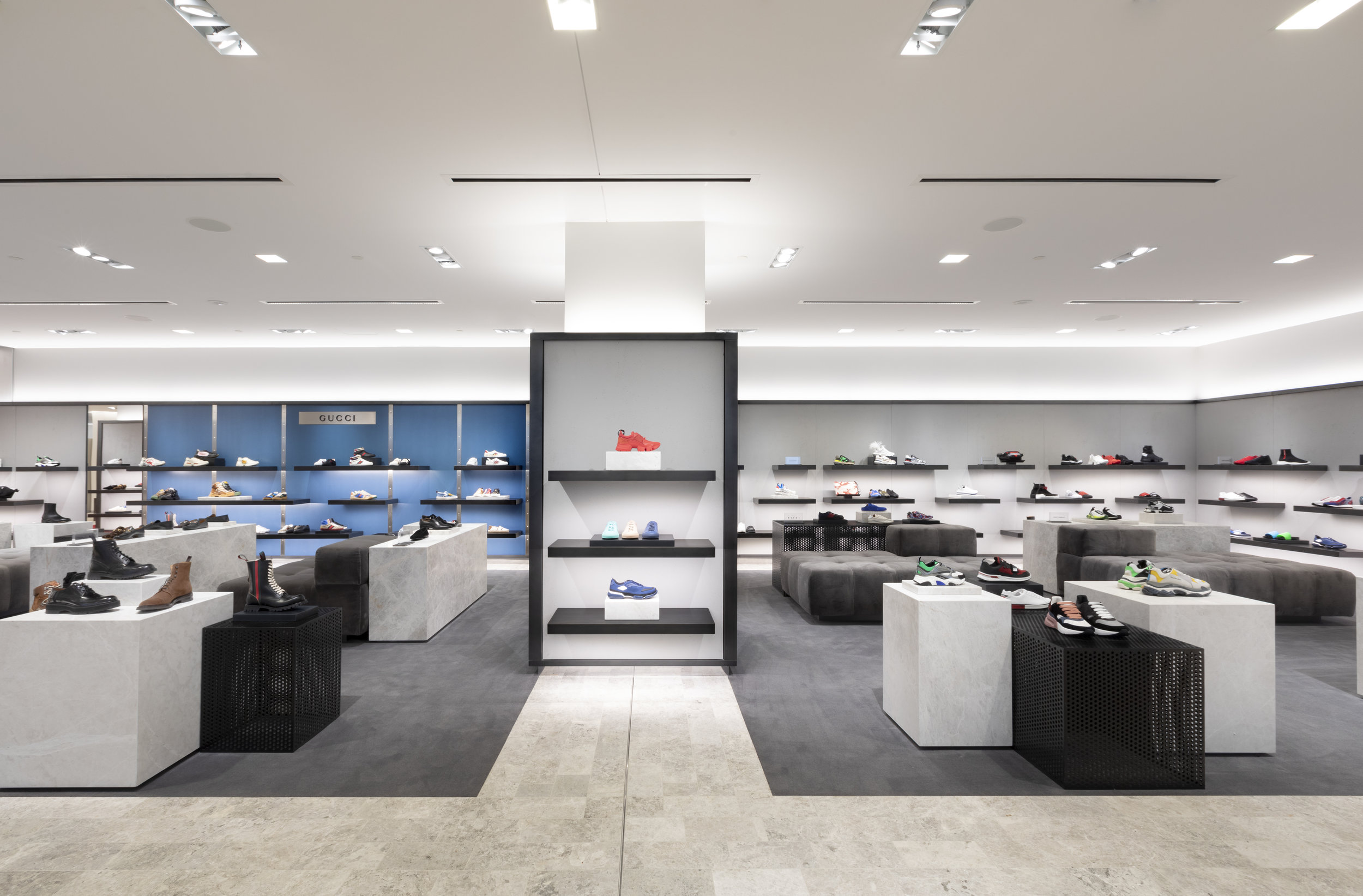 Men's footwear, including a dedicated Gucci area to the left. PHOTO: HOLT RENFREW OGILVY
