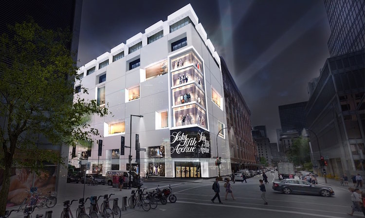 Rendering of the proposed Saks Fifth Avenue store in Montreal. Plans appear to have been shelved. Photo: Hudson's Bay Company.