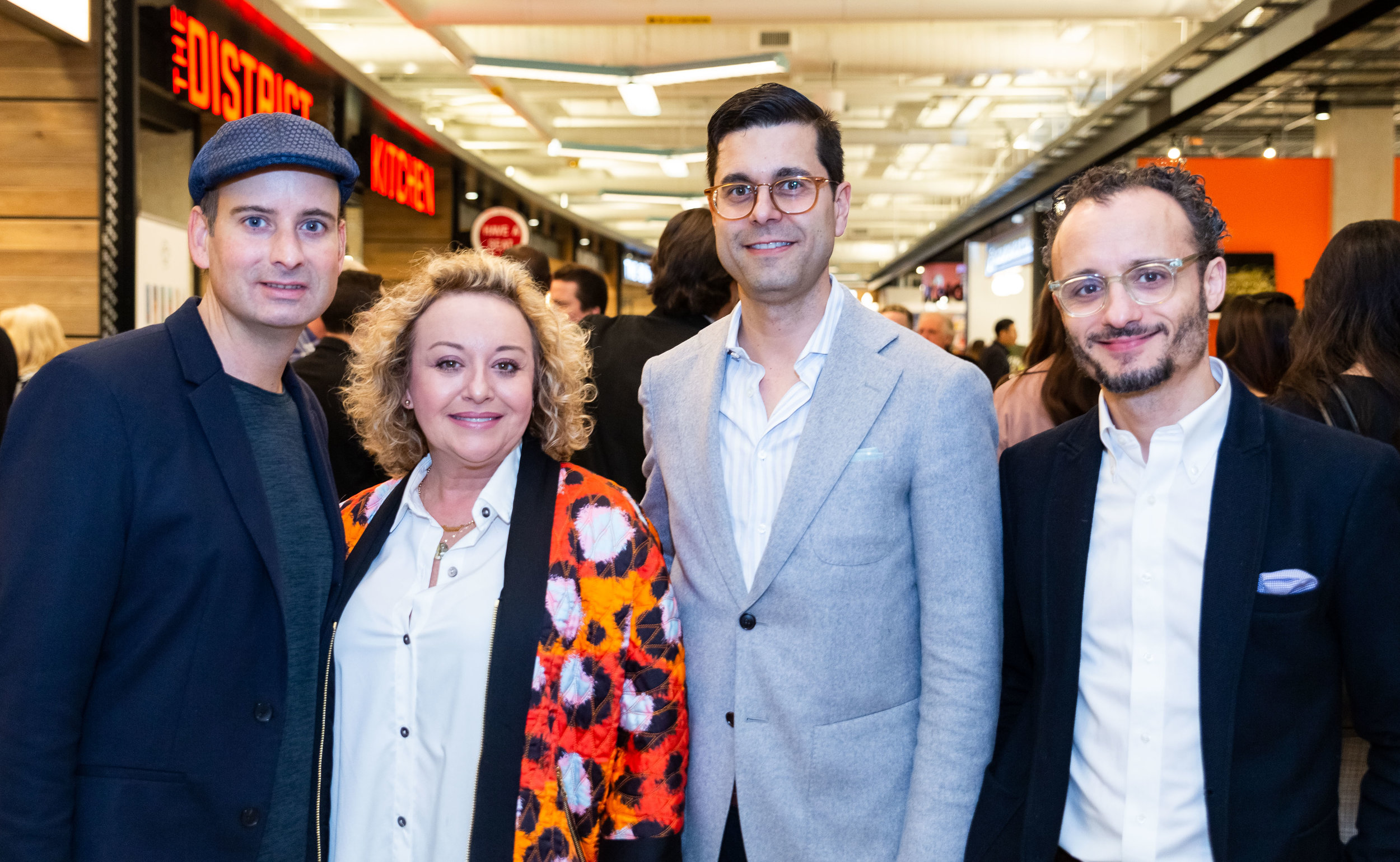 At the pre-opening event on Friday, March 29. Left-to-right: Craig Patterson, Editor-in-Chief of Retail Insider.  Yana Brikker, Stylist .  Nick Iozzo , Senior Director, Retail Innovation and Lead Generation at Oxford Properties Group.  Tony Manni , Manager, National Specialty Leasing at Oxford Properties Group.