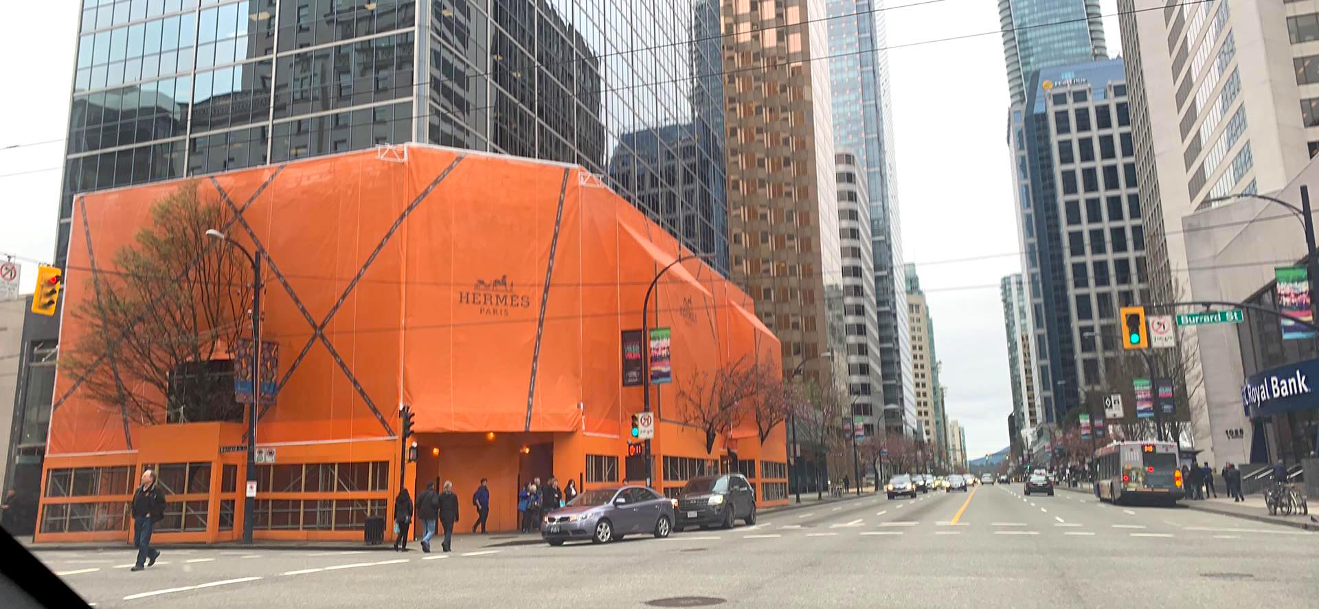 Under Construction: New Hermes flagship at W. Georgia Street and Burrard Street in Vancouver. Photo: Lee Rivett