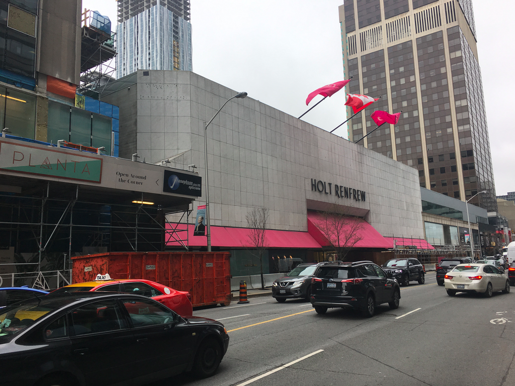 Preparations underway for the Bloor Street Holt Renfrew facade overhaul on May 1, 2019. Photo: Retail Insider