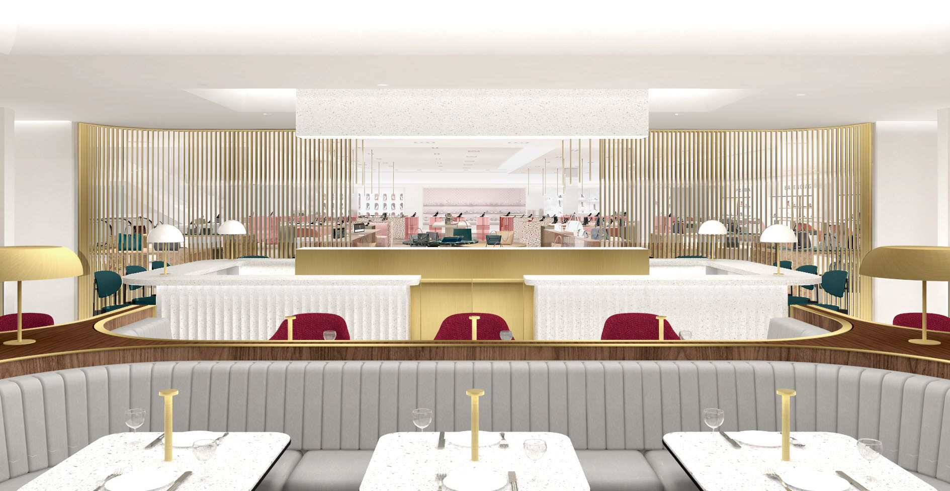 Rendering of the new 'Colette Grand Café' opening at Holts Bloor in the fall of 2019. Rendering: Holt Renfrew/Alex Cochrane Architects