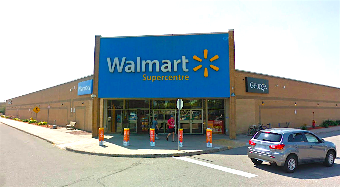 Walmart store at Station Square in Sault St. Marie, Ontario. Image: Google Street View. Click image for interactive view.