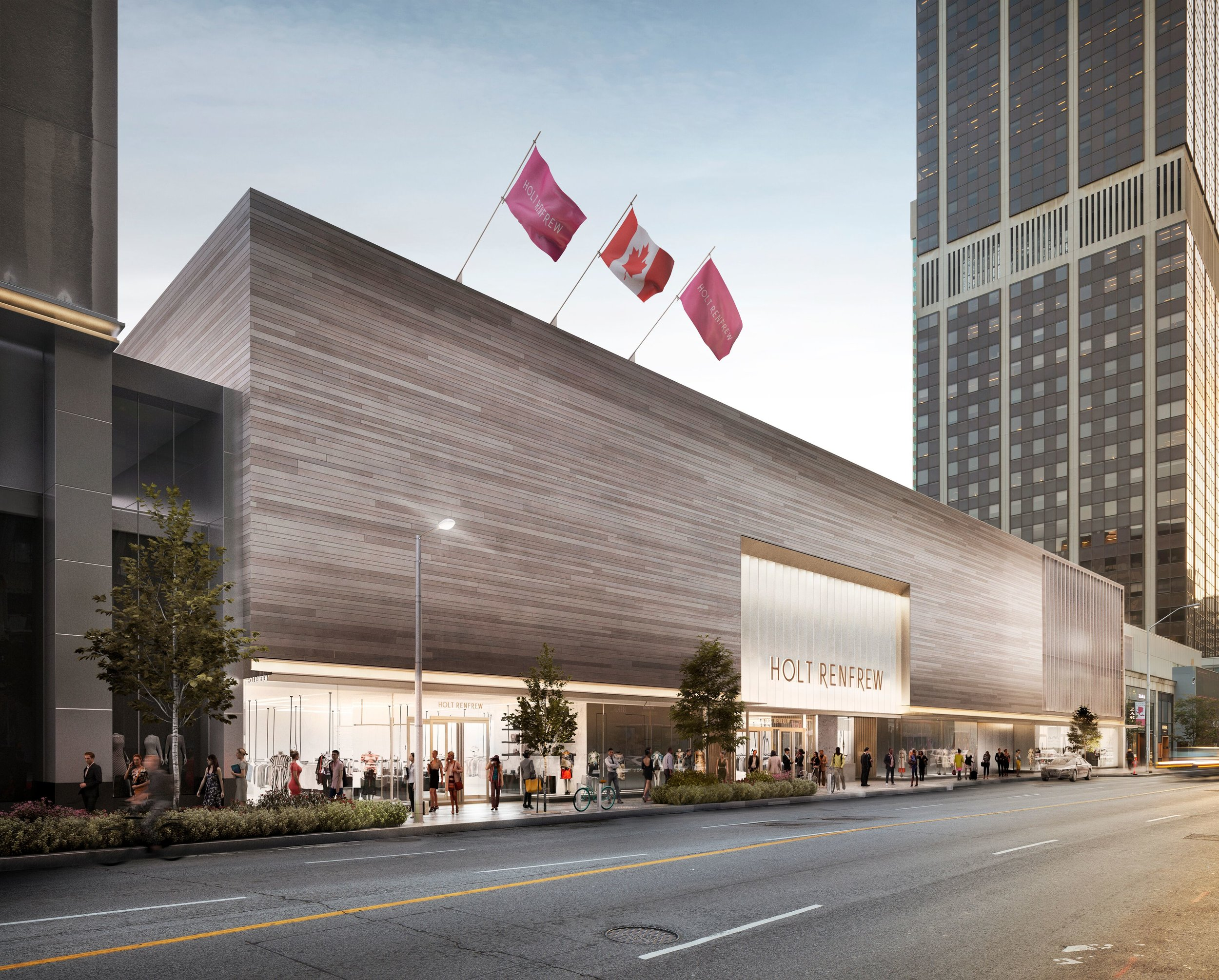 The Holt Renfrew store, which anchors the Holt Renfrew Centre at 50 Bloor Street West where the new Chanel fragrance and Beauty Boutique is located, will see an overhaul that includes renovated mall interiors, a renovated Holt Renfrew anchor, and a new shopping centre facade. Rendering: Gensler/Holt Renfrew.