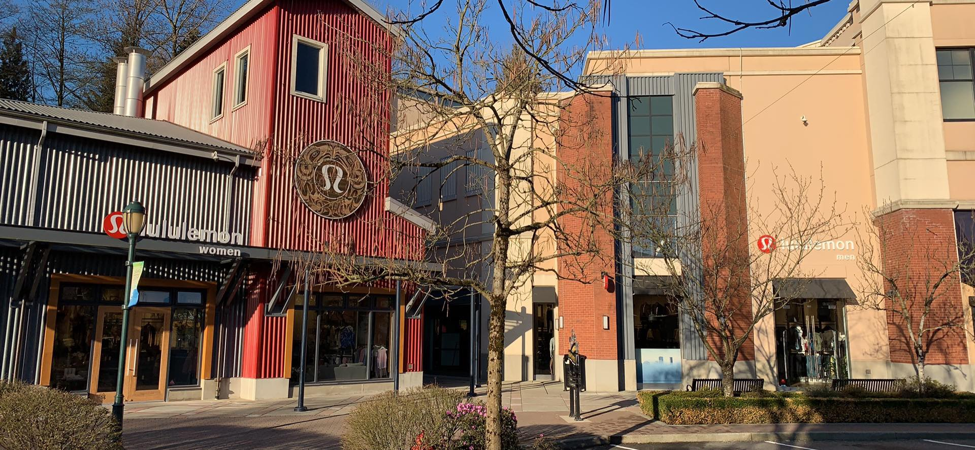 Lululemon (left) and newly opened Lululemon Mens (right) within The Village at Park Royal