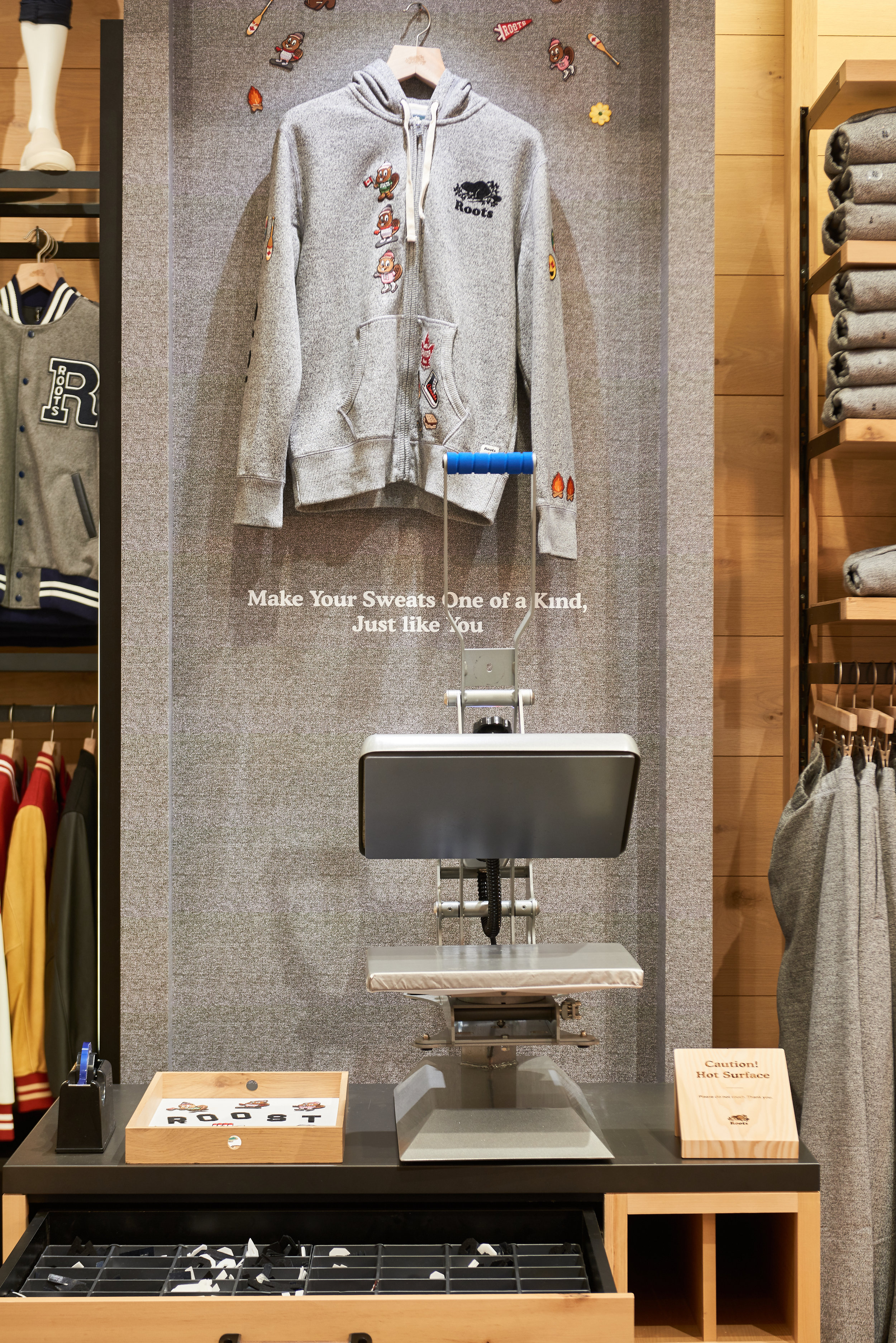 SWEATS PERSONALIZATION STATION AT ROOTS' NEW BLOOR STREET STORE PHOTO: ROOTS