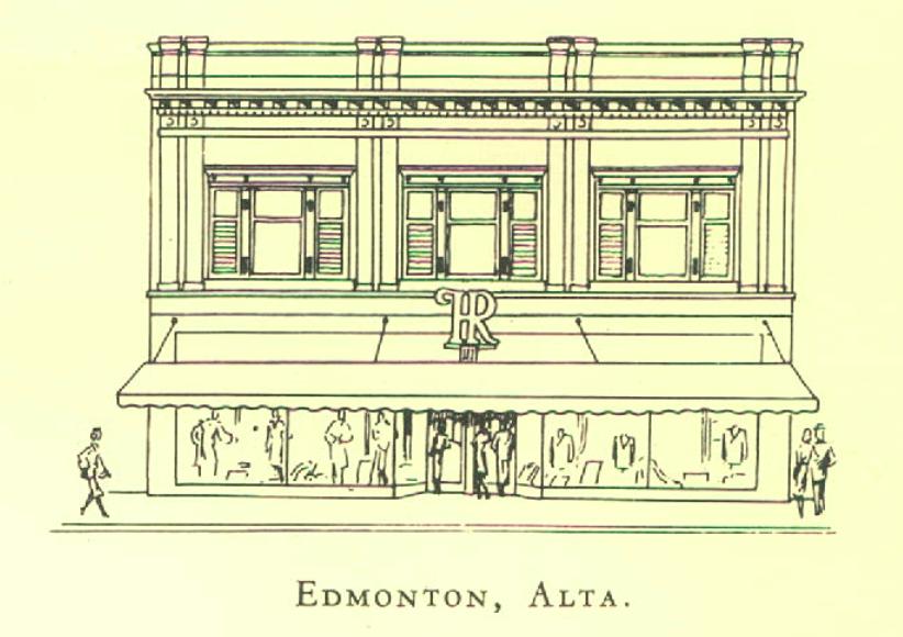 Edmonton's original Holt Renfrew store at 10336 Jasper Avenue in 1950. Rendering via  a Holt Renfrew annual report from 1953 .