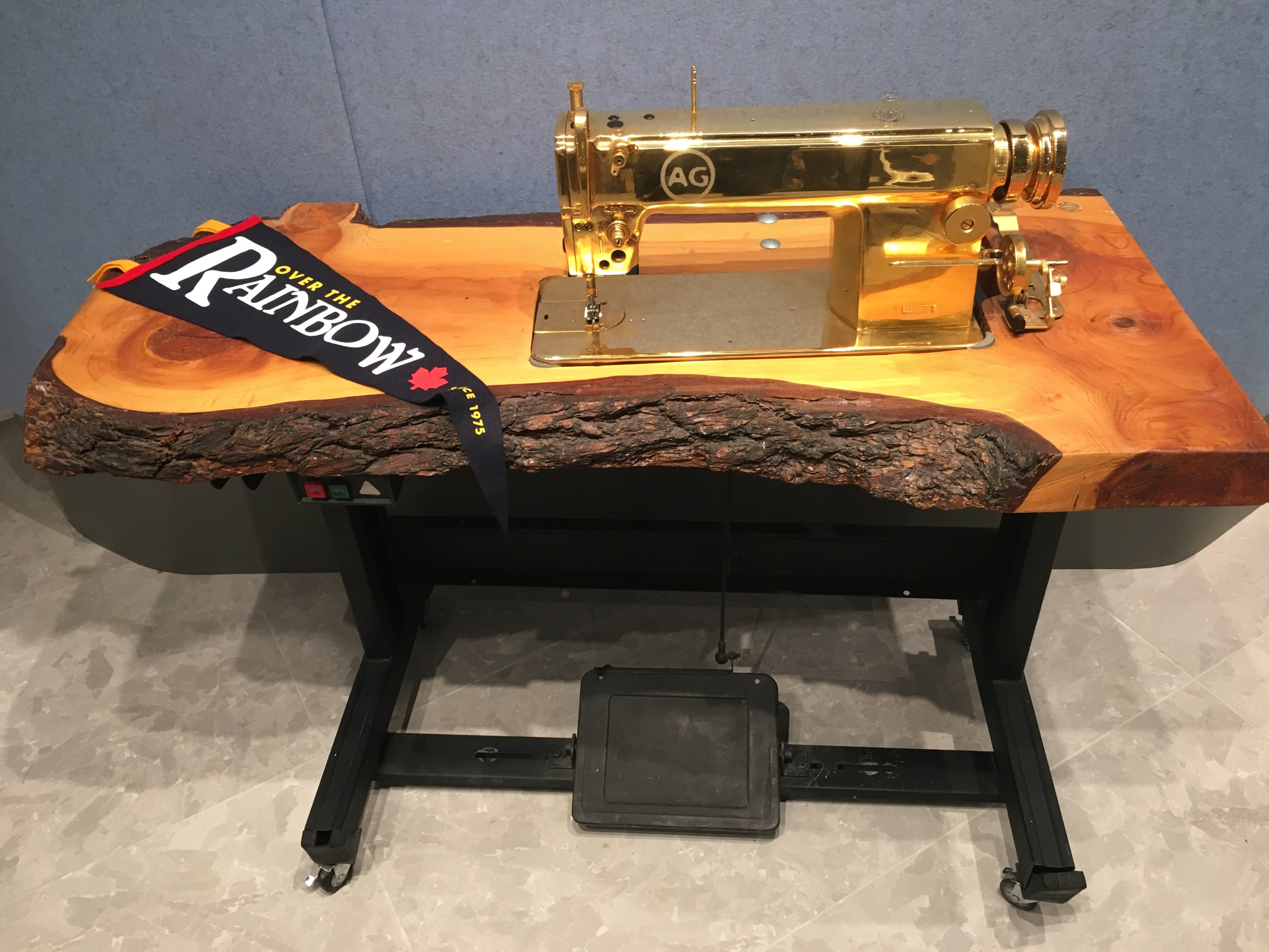 24k gold plated sewing machine, a gift from AG.