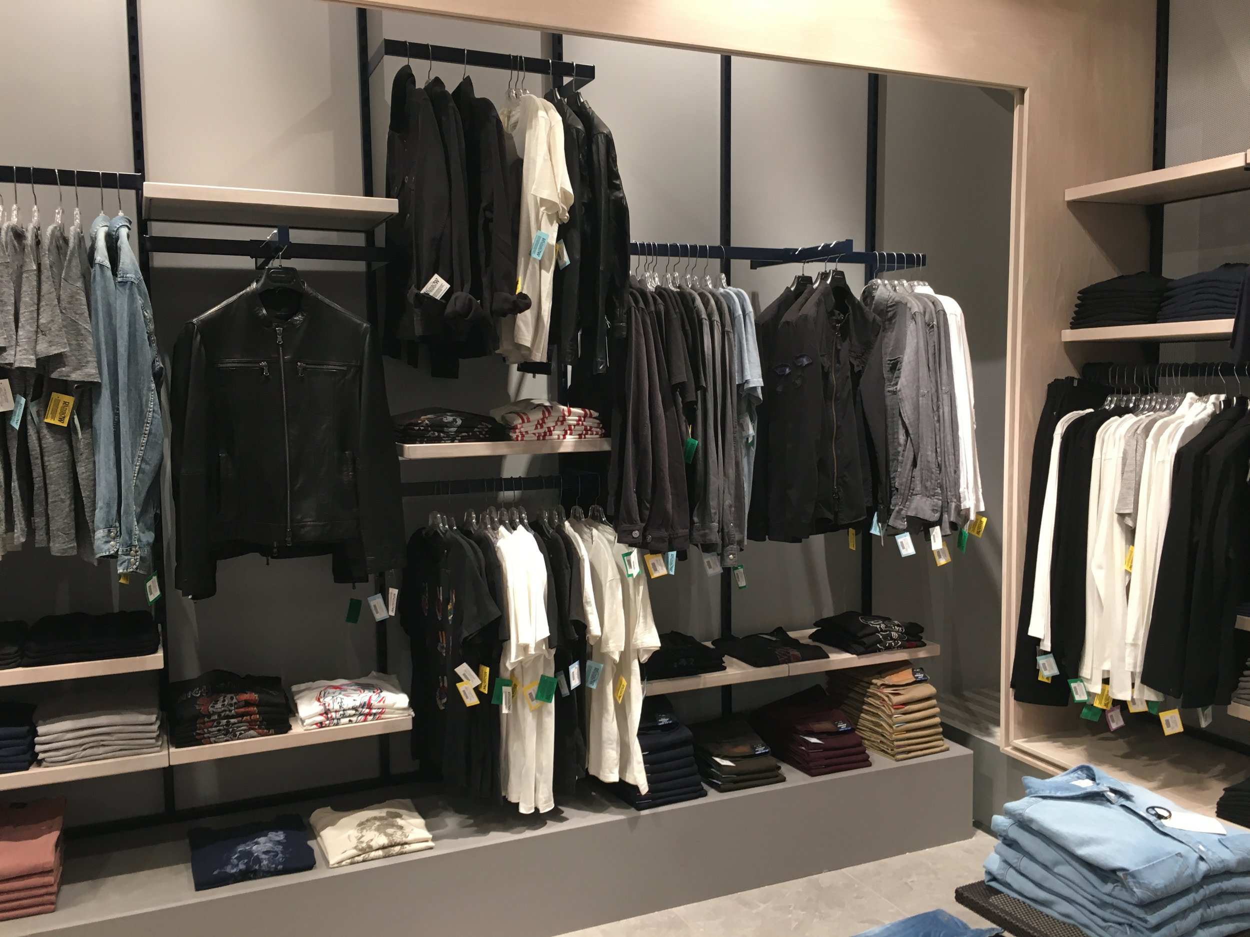 Men's contemporary fashion department.