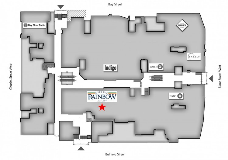 Ground floor plan of Manulife Centre in Toronto, showing Over the RAinbow's location.