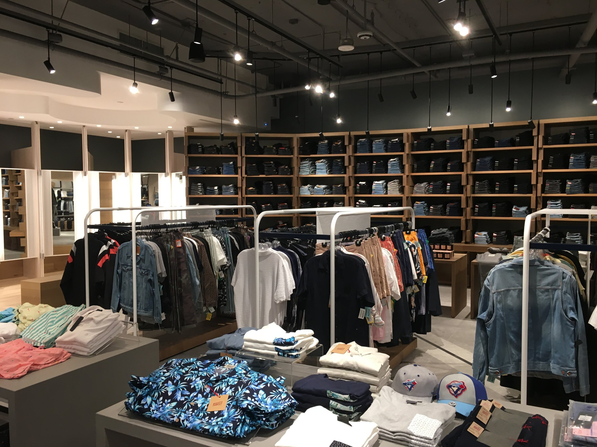 Looking towards the men's denim wall in the new store. photo: craig patterson