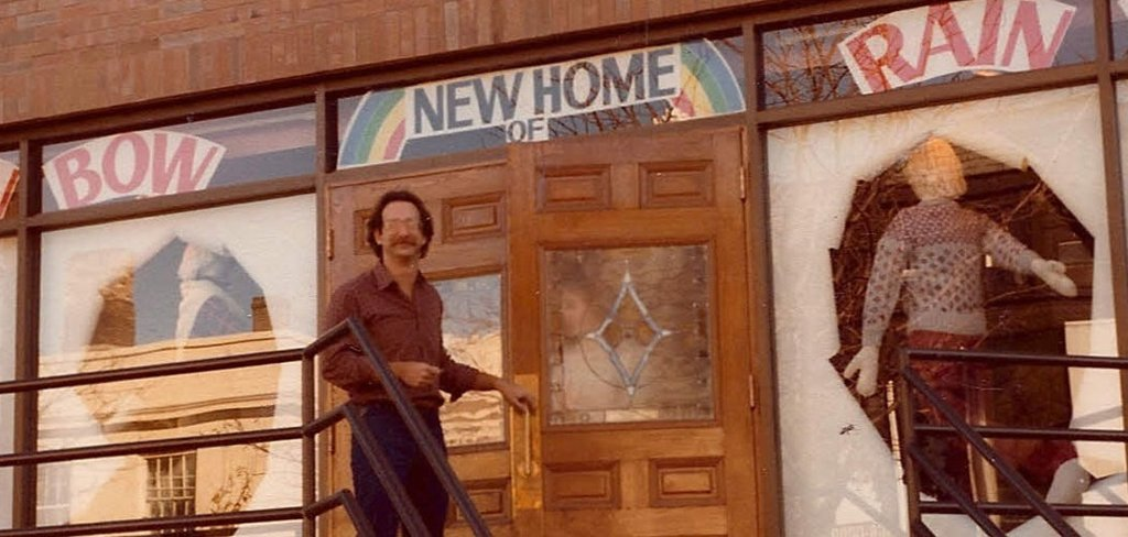 Joel Carman in front of the former Yorkville Avenue store in 1982. Photo: Over the Rainbow