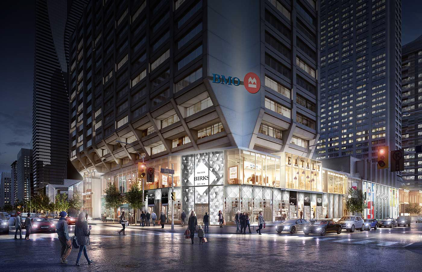 By the end of the year, Manulife Centre will be home to Eataly, Shoppers Drug Mart, and other new tenants. Birks re-opened last month. Rendering: Manulife.